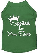 Spoiled in Kansas Screen Print Souvenir Dog Shirt Green XS