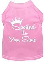 Spoiled in Kansas Screen Print Souvenir Dog Shirt Light Pink XS