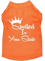 Spoiled in Kansas Screen Print Souvenir Dog Shirt Orange XS