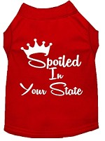 Spoiled in Kansas Screen Print Souvenir Dog Shirt Red XS