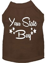 Indiana Boy Screen Print Souvenir Dog Shirt Brown XS