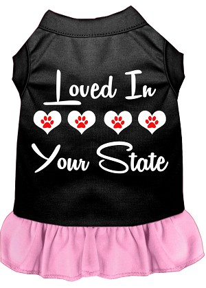 Loved in Iowa Screen Print Souvenir Dog Dress Black with Light Pink Lg