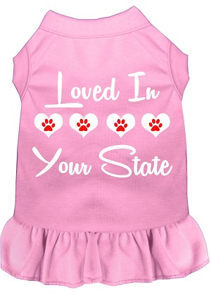 Loved in Iowa Screen Print Souvenir Dog Dress Light Pink XS