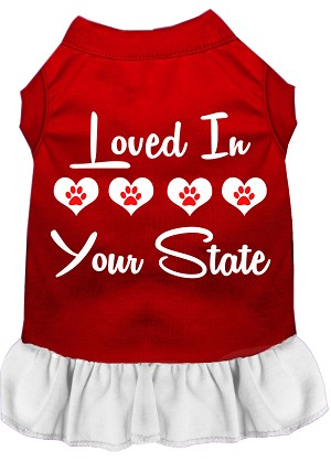 Loved in Iowa Screen Print Souvenir Dog Dress Red with White XS