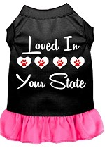 Loved in Alaska Screen Print Souvenir Dog Dress Black with Bright Pink XS