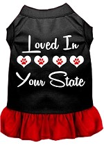 Loved in Alaska Screen Print Souvenir Dog Dress Black with Red XS