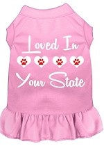 Loved in Alaska Screen Print Souvenir Dog Dress Light Pink XS