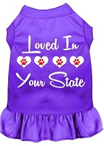 Loved in Alaska Screen Print Souvenir Dog Dress Purple XS