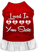 Loved in Alaska Screen Print Souvenir Dog Dress Red with White XS