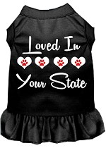 Loved in Alaska Screen Print Souvenir Dog Dress Black XS