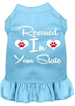 Rescued in Alabama Screen Print Souvenir Dog Dress Baby Blue XS