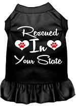 Rescued in Alabama Screen Print Souvenir Dog Dress Black XS
