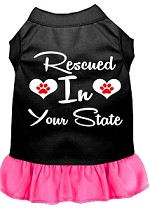 Rescued in Alabama Screen Print Souvenir Dog Dress Black with Bright Pink XS