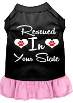 Rescued in Alabama Screen Print Souvenir Dog Dress Black with Light Pink XS