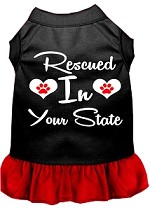 Rescued in Alabama Screen Print Souvenir Dog Dress Black with Red XS