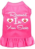 Rescued in Alabama Screen Print Souvenir Dog Dress Bright Pink XS