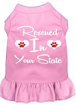 Rescued in Alabama Screen Print Souvenir Dog Dress Light Pink XS