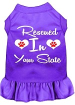 Rescued in Alabama Screen Print Souvenir Dog Dress Purple XS