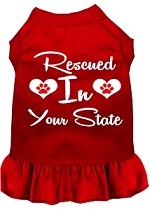 Rescued in Alabama Screen Print Souvenir Dog Dress Red XS