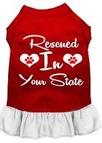 Rescued in Alabama Screen Print Souvenir Dog Dress Red with White XS