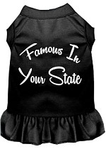 Famous in Connecticut Screen Print Souvenir Dog Dress Black XS