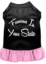 Famous in Connecticut Screen Print Souvenir Dog Dress Black with Light Pink XS
