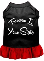 Famous in Connecticut Screen Print Souvenir Dog Dress Black with Red XS