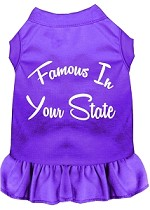 Famous in Connecticut Screen Print Souvenir Dog Dress Purple XS