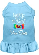 Keeping it Weird Hawaii Screen Print Souvenir Dog Dress Baby Blue XS