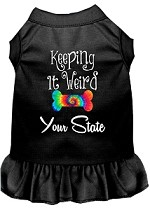 Keeping it Weird Hawaii Screen Print Souvenir Dog Dress Black XS