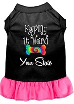 Keeping it Weird Hawaii Screen Print Souvenir Dog Dress Black with Bright Pink XS