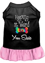 Keeping it Weird Hawaii Screen Print Souvenir Dog Dress Black with Light Pink XS