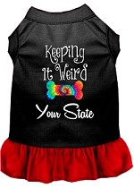 Keeping it Weird Hawaii Screen Print Souvenir Dog Dress Black with Red XS