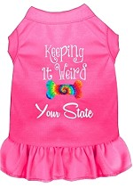 Keeping it Weird Hawaii Screen Print Souvenir Dog Dress Bright Pink XS