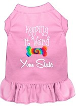 Keeping it Weird Hawaii Screen Print Souvenir Dog Dress Light Pink XS