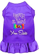 Keeping it Weird Hawaii Screen Print Souvenir Dog Dress Purple XS