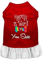Keeping it Weird Hawaii Screen Print Souvenir Dog Dress Red with White XS