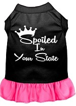 Spoiled in Alabama Screen Print Souvenir Dog Dress Black with Bright Pink XS