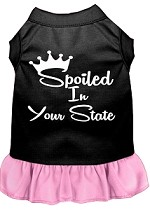 Spoiled in Alabama Screen Print Souvenir Dog Dress Black with Light Pink XS