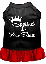 Spoiled in Alabama Screen Print Souvenir Dog Dress Black with Red XS
