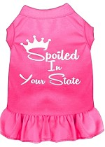 Spoiled in Alabama Screen Print Souvenir Dog Dress Bright Pink XS