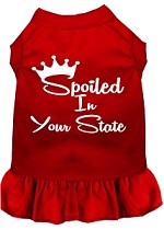 Spoiled in Alabama Screen Print Souvenir Dog Dress Red XS