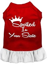 Spoiled in Alabama Screen Print Souvenir Dog Dress Red with White XS