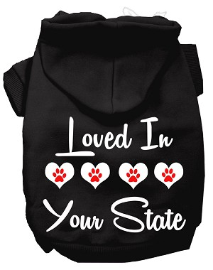 Loved In Alabama Screen Print Souvenir Dog Hoodie Black SM