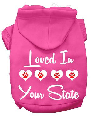Loved In Alabama Screen Print Souvenir Dog Hoodie Bright Pink XL