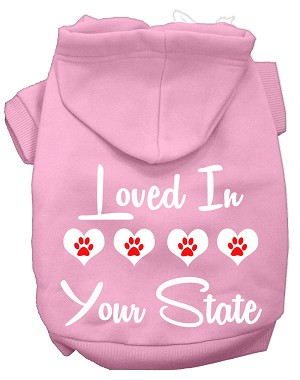 Loved In Alabama Screen Print Souvenir Dog Hoodie Light Pink XXXL