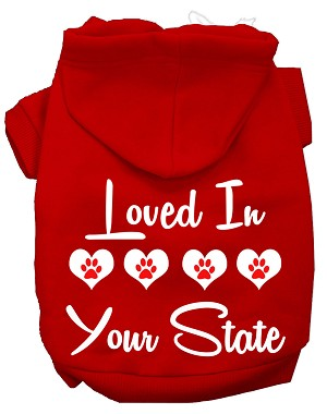 Loved In Alabama Screen Print Souvenir Dog Hoodie Red XXXL