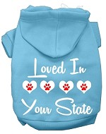 Loved In Alaska Screen Print Souvenir Dog Hoodie Baby Blue XS
