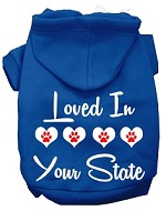 Loved In Alaska Screen Print Souvenir Dog Hoodie Blue XS