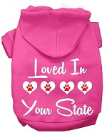 Loved In Alaska Screen Print Souvenir Dog Hoodie Bright Pink XS